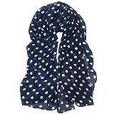 TRIXES Foulard blu e bianco a pois - Foulard leggero per signora elegante, effetto raso