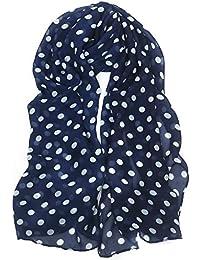 Ladies White Polka Dots on Navy Blue Fashionable Scarf TRIXES