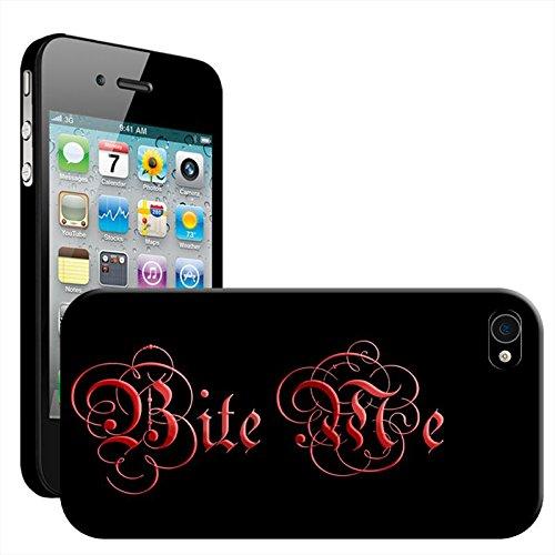 Bite Me Vampire Blood Gothic Writing Coque arrière rigide pour Apple iPhone modèles, plastique, iPhone 4/4s