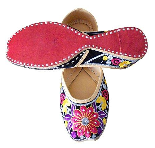 kalra Creations Chaussures de indien traditionnel fait main en velours cuir décontracté pour femme bigarré