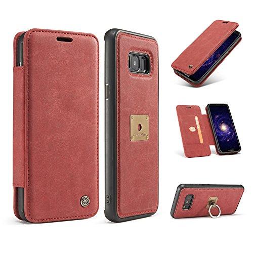 CaseMe Leder Brieftasche iPhone 7 Fall mit Magnetic PC + TPU Rückseitige Abdeckung, abnehmbare Folio, Kartensteckplätze, Magnetische Ringhalterung iPhone 7 Rot Red