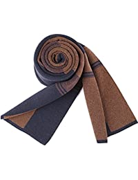 XIAOLIN-- Scarf Men 2017 Autumnand Winter Plaid Stripe Pattern 30*180cm 3 Colors --Outdoor warm scarf ( Color : Brown )