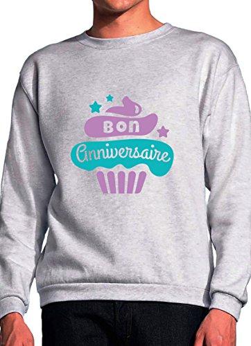 BlackMeow Bon Anniversaire Cupcake Design Grey Unisex Sweatshirt - Medium