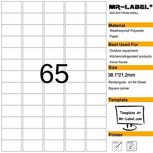 Mr-Label® étanches Etiquettes adhésives amovibles - durables autocollants indéchirables pour Cuisine utilisation | maisons de ventes | Fabrication et stockage | Organisation et dépôt (Taille: 23.2*38.1mm) (25 feuilles / totalement 1625 étiquettes)