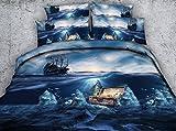 HUANZI Feder Bettbezug Kissenbezug BettwäSche Set Pflegeleicht Doppel Bettbezug Set Meer Baby 3D-Druck-Muster, 150 * 200