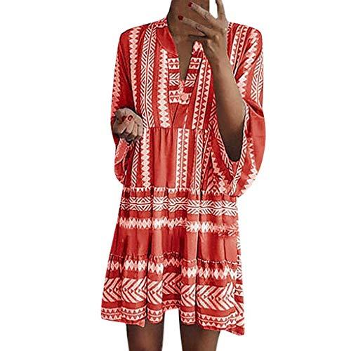 SHINEHUA Sommerkleid Damen 3/4 Arm Große Größen Sommer Kleid Tunika Tshirt Kleider MiniKleid Rundhals Boho Strandkleider Casual Blusenkleid Elegante Abendkleid Partykleid Cocktailkleid -