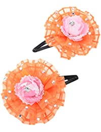Monalisa Enterprise Hair Clip(Tic-tic Pin) With Beautiful Fabric Flower & Metal Clip(Pack Of 2, ME_039)