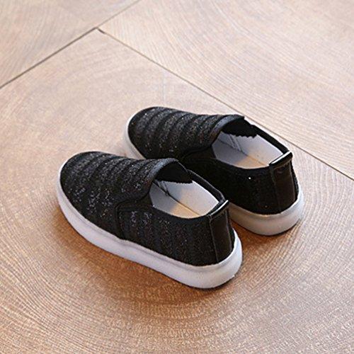 NiSeng Mädchen & Jungen Casual Schuhe Kinder Mode Led Schuhe Sportschuhe Turnschuhe Schwarz