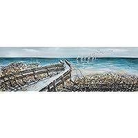 86402d1d48 BUBOLA quadro azzurro dipinto a mano mare particolari a rilievo stampa su  tela DIPIZ416 30x90