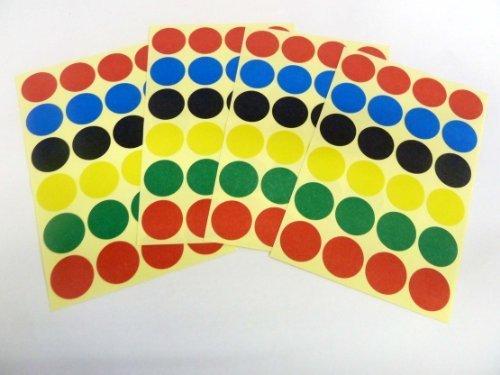 Varios Colores Papel Adhesivos, 18mm Circular, 96 Etiquetas, auta-adhesivo Etiquetas Adheribles , Economía Pack