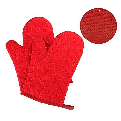 Gants de cuisine Gofriend antidérapant, gants de four résistant à la chaleur gants de cuisine pour les barbecues, la cuisine, la boulangerie, 1 paire, avec coque en silicone résistant à la chaleur et sous-verre isolants Red