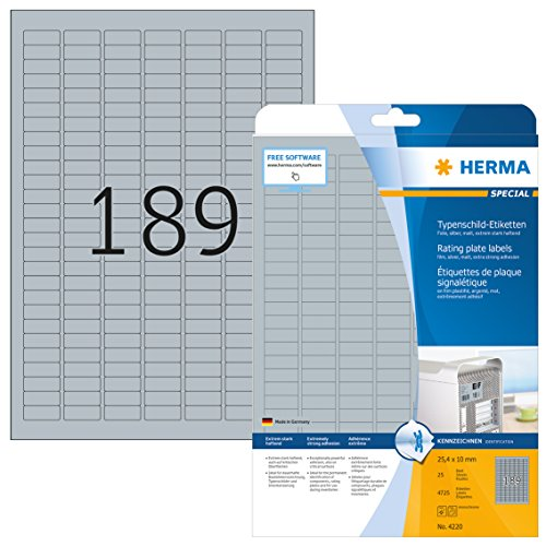 Herma 4220 - Pack de 4725 etiquetas, 25 x 10 mm, color plateado