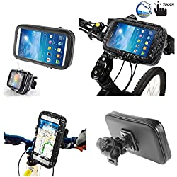 DFV mobile - Support Professionnel pour le Guidon de Bicyclette et la Moto Imperméable Rotative 360 º pour => CATERPILLAR CAT S41 DUAL TD-LTE-A > Noir