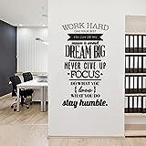 Adesivi Murali Citazioni Motivazionali 'Work Hard' Inspirational Parole Lettere Semplice Decorazione Rimovibili Vinile DIY Stickers Murali per Camera da Letto, Soggiorno / Decorazione Murali da Parete