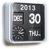 Fartech Horloge calendrier Mural ou à poser Mécanisme à volets Style rétro Blanc 24 cm