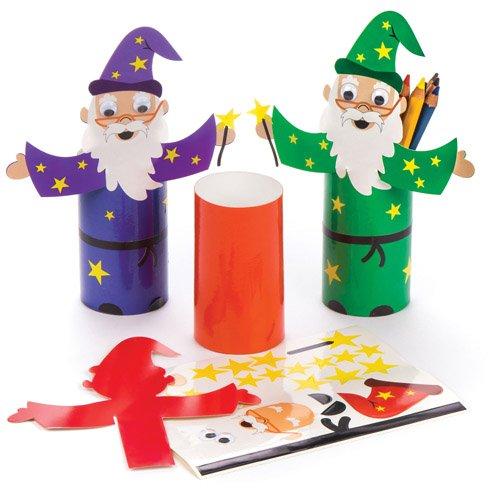 Baker Ross Stiftebecher-Bastelsets Zauberer als lustiges Spielzeug für Kinder zum günstigen Preis – perfekt als kleine Party-Überraschung für Kinder zu Halloween (4 Stück) (Halloween-taschen Günstige)