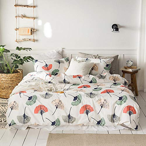 Anmou Einfache Blumen Baumwolle Männer Und Frauen Baumwolle Bett Vier Sätze Von Bettwäsche@Ginkgo Biloba_2,0 M (6,6 Ft) Bett - Blume-bett-satz