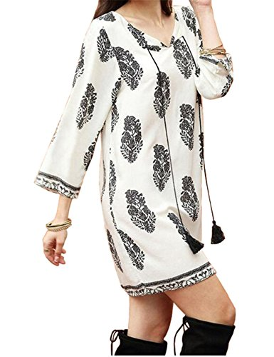 JOTHIN - Robe - Femme Retro-Muster Blanc