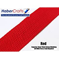 Red 25mm Width Cotton Webbing Tape Belting Fabric Strap Bag Making Apron Strapping (3 Meters)