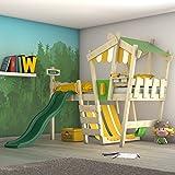 WICKEY Kinderbett mit Rutsche CrAzY Hutty Hochbett mit Dach Abenteuerbett mit Lattenboden, apfelgrün-gelb + grüne Rutsch