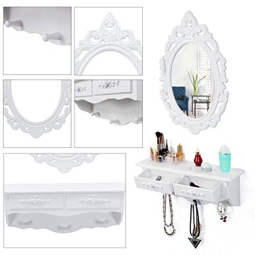 Songmics kleine Schminktisch 2 Schubladen Wandkonsole mit Spiegel, Haken Landhaus weiß RDT16W - 6