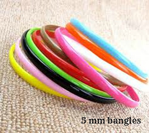 Plastic colourful bangles (2.6) 5mm thick pack of 25 bangles