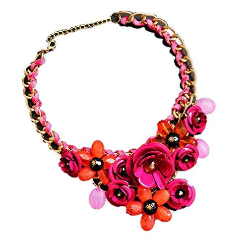 Heiße Patrone (Yogogo Mischart Kette Kristall Bunt Blume Luxus Weben Halskette für Frauen (Heißes Rosa))
