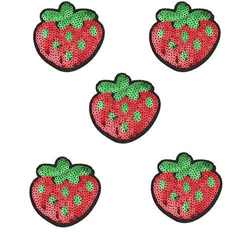 Toruiwa 5X Patches Bestickte Aufnäher Obst Patches Nähen Patch Sticker Applique Badge für Kleid Hut Schuhe Jeans DIY Kostüm Schmücken (Erdbeere)