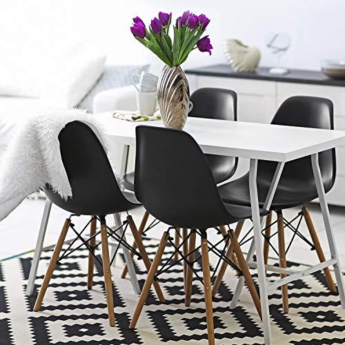 VADIM Schwarzes 4er Set Esszimmerstühle im Eames Style, nordisch Moderne Retro Klassiker für jedes Zimmer im Haus, robust und Schmutzabweisend in einfachen schritten zusammengebaut