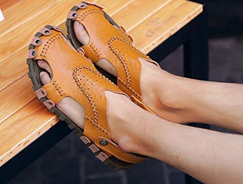 2017 estate nuova personalità uomini di modo sandali fatti a mano della spiaggia Scarpe in pelle inferiore molle sandali di cuoio traspirante Baotou Men Brown
