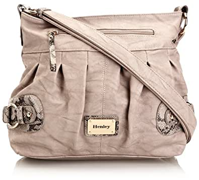Henley Womens Ella Cross-Body Bag HBAG012.15 Grey/Black Snake