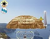 XXL-Strandschirm, Hawaii Style mit Fransen beige/naturweiss, EXTREM WETTERFEST, Sonnenschirm für Karibikurlaub zu Hause, Größe ca. 160 cm - 180 cm robuster Schirm für Garten Strand, Picknick Lagerfeuer, Sonnenschirm mit Hülle,XXL-Schirm, faltbar, tragbar, seewasserfest, hochwertig robust stabil, Sonnenschutz, stabiler Schirm Schirm, Strandschirme, Sonnenschirme, Sonnenschirm-Tische