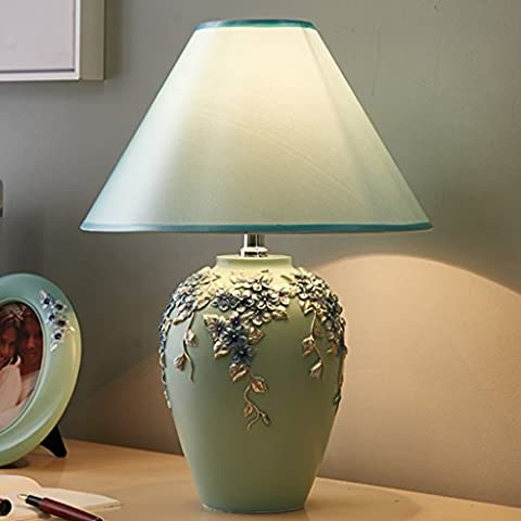 LOAMI Creative European Resin Fabric Table Lamp Bedroom Bedside Light Simple Warm And Cozy Living Room Study Table Decoration Desk Lamps ( Color : B-push