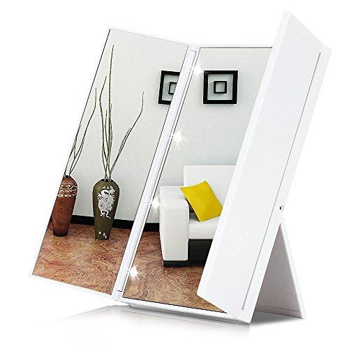 KYG Schminkspiegel mit 8 LED faltbarer, beleuchteter Kosmetikspiegel, 3 Seiten batteriebetriebener Tischspiegel für Make up und Reise, weiß