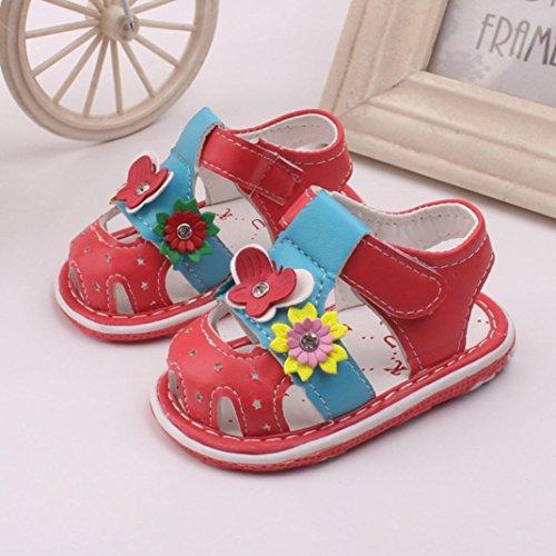 BZLine® Neue Blumen Girls Sandalen mit Ton Soft-soled Baby Schuhe Sandalen Rot