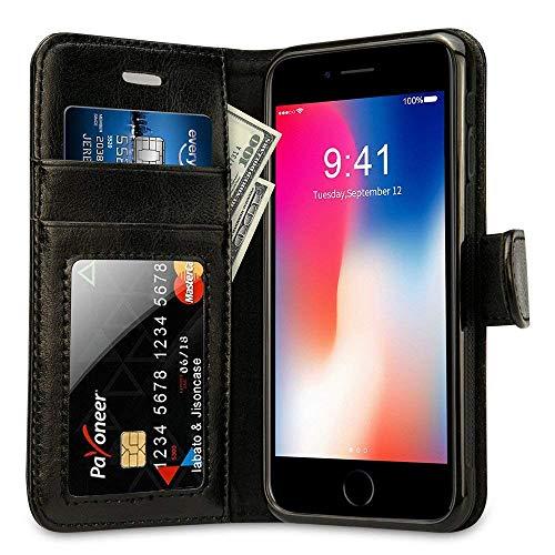 Labato Hülle für iPhone 8 iPhone 7, Portemonnaie-Stil Leder Hülle für Apple iPhone 7/8 Handytasche mit Kartenfächer Schwarz, Lbt-IP8-05Z10