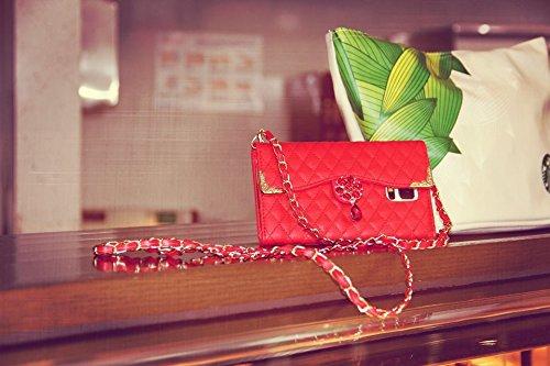 Coque iPhone 5/5S, iNenk® Strass Téléphone Définit à main en cuir avec Longes PU étui portefeuille Moda couverture pour les femmes-Blanc rouge