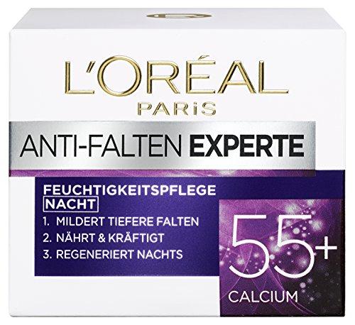 L'Oréal Paris Falten Gesichtscreme, Anti-Falten Experte 55+ Nachtcreme für Damen ab 55 Jahren mit Calcium, 3er Pack (3 x 50 ml) -