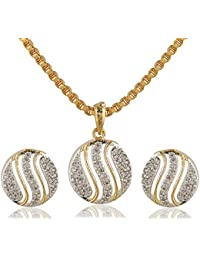 SKN Silver And Golden American Diamond Alloy Pendant Set With Box Chain For Women & Girls (SKN-1152)
