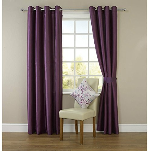 "•ROHILinen• Premium Pair of PURPLE 66″ Width x 90″ Drop, Luxury Faux Silk Ring Top Eyelet Curtains, Fully Lined Ready Made Curtain + ""Includes Complimentary Matching Tie Backs FREE"""