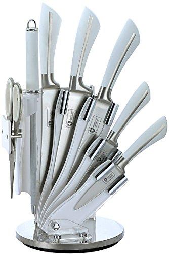 Royalty Line-Juego de cuchillos con soporte, 8 piezas, color blanco, g