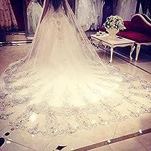 ukbiology 1pieza encaje boda purpurina fiesta encaje 3,5metros elegante boda novia velo Catedral brillante largo tul novia Mantilla