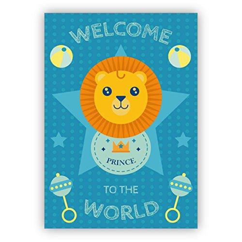 1 Süße Baby Glückwunschkarte zur Geburt eines Jungen mit Löwen: Willkommen auf der Welt Prinz - zauberhafte Willkommens Grusskarte zur Geburt um Mutter und Kind zu gratulieren