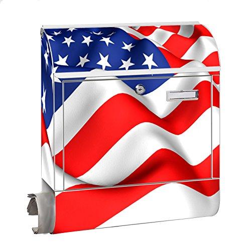 Design Motiv Briefkasten Maxi mit Zeitungsfach Zeitungsrolle für A4 Post slk shop Groß Flagge USA
