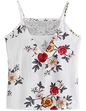 Vovotrade Collar en V Mujer floral casual chaleco sin mangas cosecha chaleco camisa blusa cami top