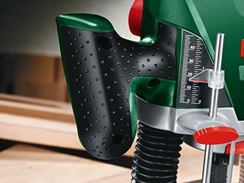 Bosch DIY Oberfräse POF 1200 AE, Nutfräser, Absaugadapter, Gabelschlüssel, Kopierhülse, Parallelanschlag, 3 Spannzangen, Zentrierstift (1.200 W,max. 28.000 1/min, Nutfräser-Ø 8 mm) - 4