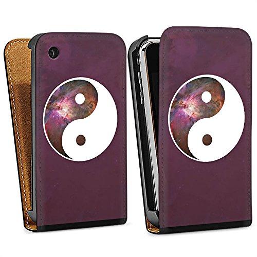 Apple iPhone 5 Housse Étui Silicone Coque Protection Ying Yang Galaxie Spiritualité Sac Downflip noir