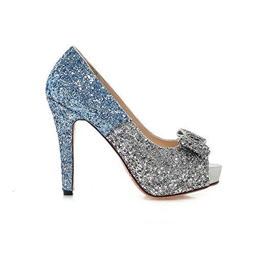 Adee Damen Pailletten sortiert Color Soft Material Sandalen Blau