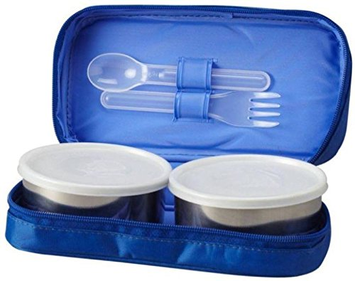 MILTON Mini 2 Containers Lunch Box,400 ml Blue,AB 033