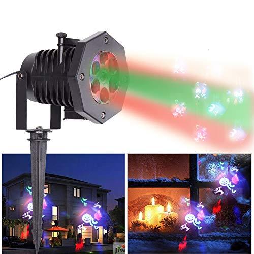 U'King Wasserdichte Scheinwerfer Projektor 4W RGBW Mehrfarbige Landschaft Lichter für Party Halloween Weihnachten ()